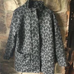 grey & black cheetah animal print coat jacket